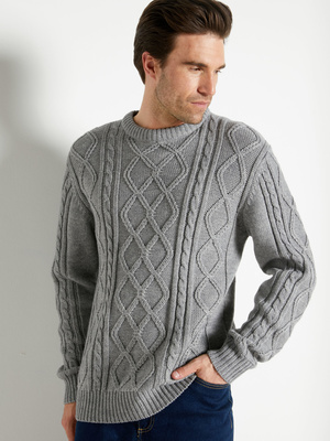 Pull style irlandais col rond 30% laine