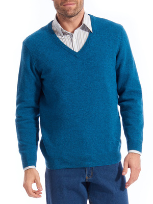 Pull col V pure laine vierge