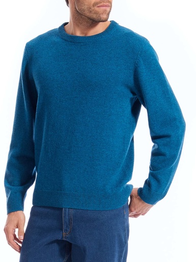 Pull col rond pure laine - Honcelac - Bleu vert