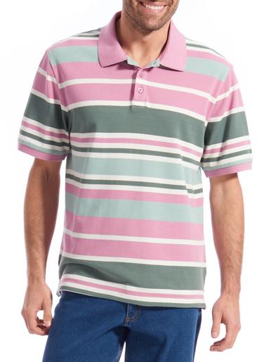 Polo manches courtes pur coton - Honcelac - Rayé gris/cranberry