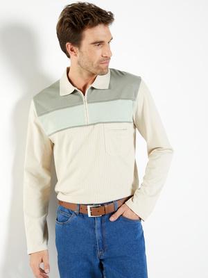 Polo à col zippé manches longues