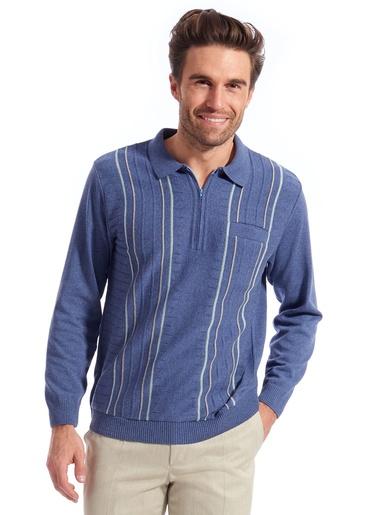 Polo manches longues - Honcelac - Bleu
