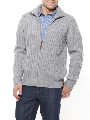 Gilet zippé style irlandais 30% laine