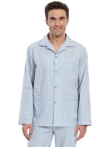 Pyjama en popeline polycoton - Honcelac - Rayé bleu