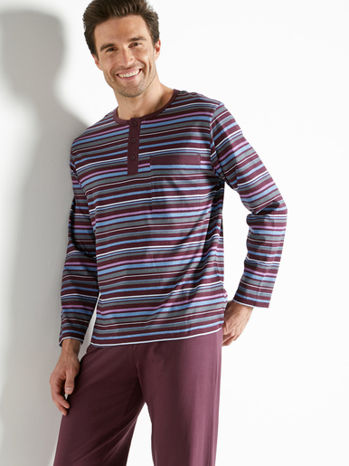 Pyjama rayé pur coton peigné - Honcelac - Prune