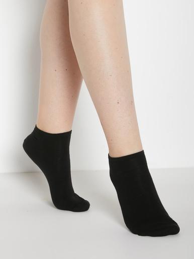 Socquettes coton majoritaire 3 paires - Lingerelle - Noir