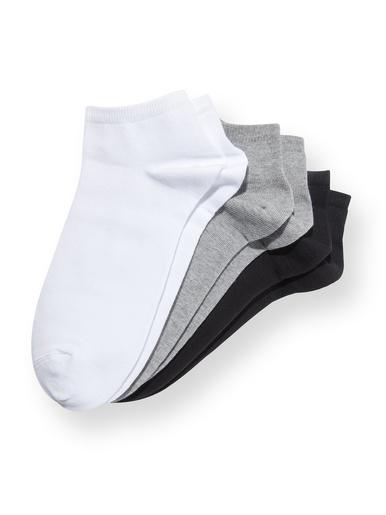 Socquettes coton majoritaire 3 paires - Lingerelle - Noir gris blanc
