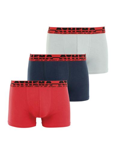 Lot de 3 boxers Easy Sport - Athéna - Rouge-marine-gris