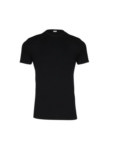Tee-shirt encolure ronde, pur coton - Eminence - Noir