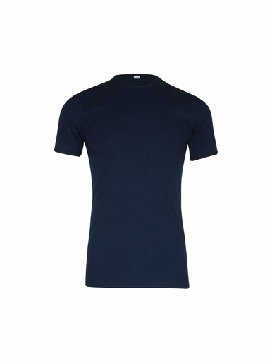 Tee-shirt encolure ronde, pur coton - Eminence - Bleu marine