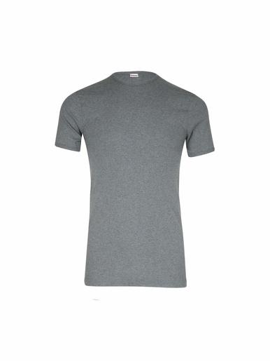 Tee-shirt encolure ronde, pur coton - Eminence - Gris foncé chiné