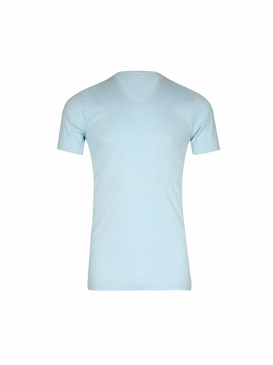 Tee-shirt encolure V, pur coton - Eminence - Ciel uni