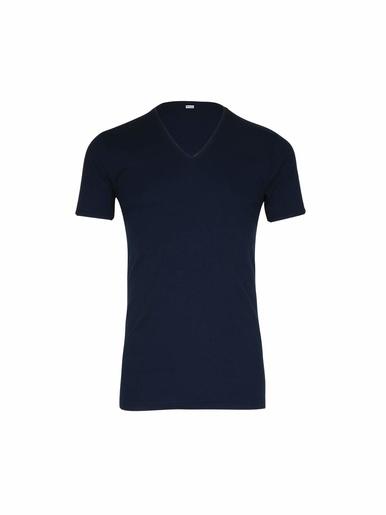 Tee-shirt encolure V, pur coton - Eminence - Marine