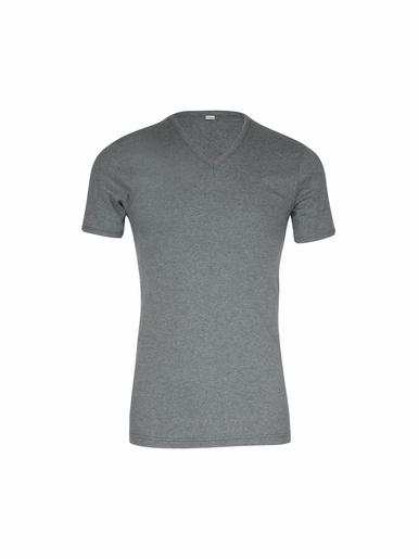 Tee-shirt encolure V, pur coton - Eminence - Gris foncé chiné