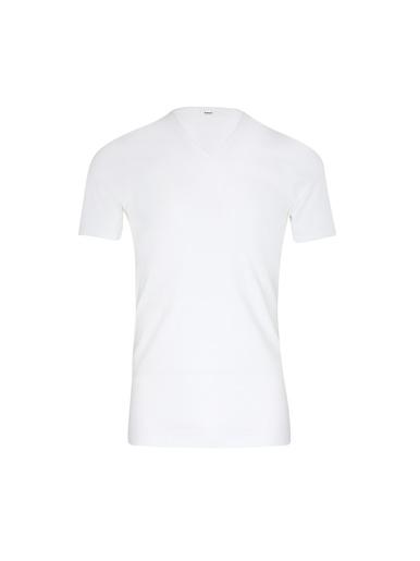 Tee-shirt encolure V, pur coton - Eminence - Blanc