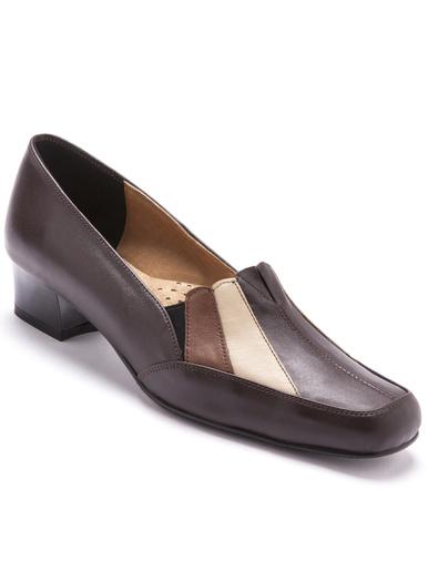 Trotteurs cuir tricolore talon 3,5 cm - Pédiconfort - Marron