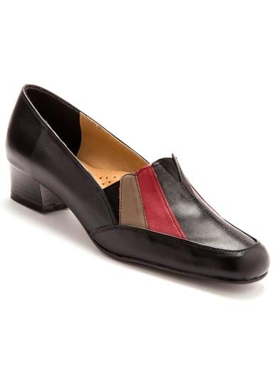 Trotteurs cuir tricolore talon 3,5 cm - Pédiconfort - Noir