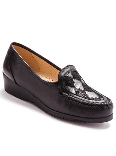 Mocassins cuir grande largeur souples - Pédiconfort - Noir