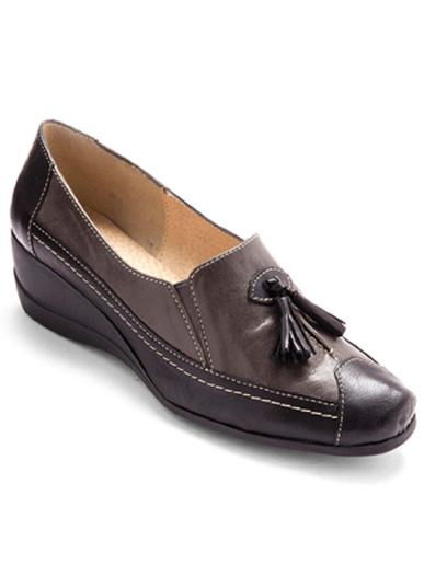 Sans-gêne en cuir largeur confort - Pédiconfort - Gris/noir