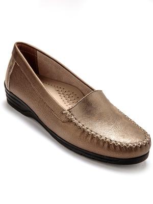 Mocassin cuir verni largeur confort