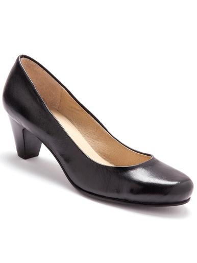 Escarpins en cuir grande largeur - Pédiconfort - Noir