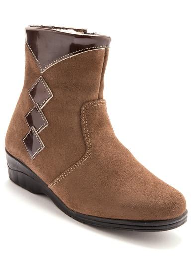 Boots cuir fourrées laine majoritaine - Charmance - Taupe