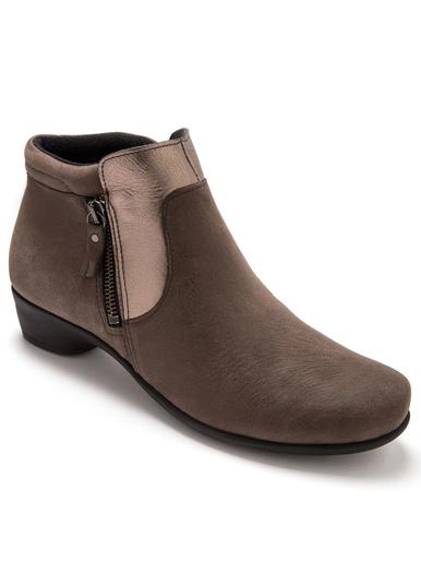 Boots cuir à aérosemelle® extra larges - Pédiconfort - Taupe