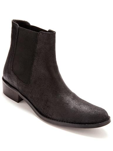 Boots élastiquées, cuir - Balsamik - Noir