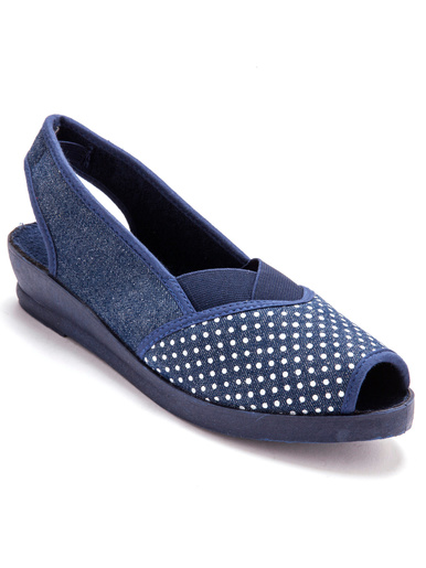 Sandales élastiquées imprimées pois - Charmance - Bleu jean