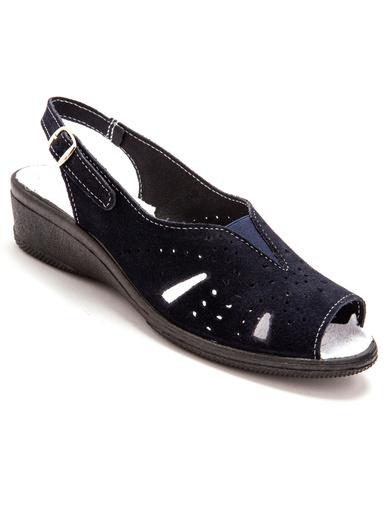 Sandales cuir velours grande largeur - Charmance - Marine