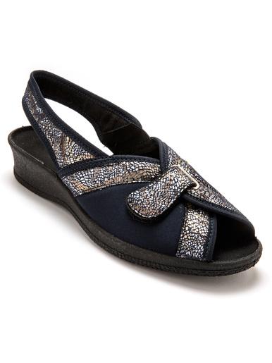 Sandales textile spécial hallux valgus - Pédiconfort - Imprimé marine