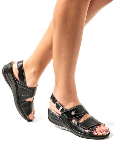 Sandales aérosemelle® galbe anatomique - Pédiconfort - Noir