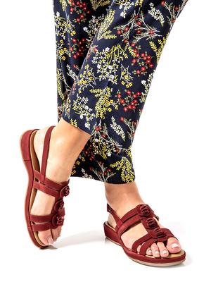Sandales fleurs en cuir