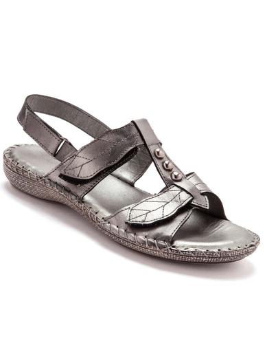 Sandales ultra souples en cuir - Pédiconfort - Gris métallisé