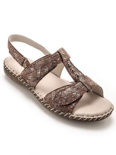 Sandales ultra souples en cuir - Pédiconfort - Imprimé marron
