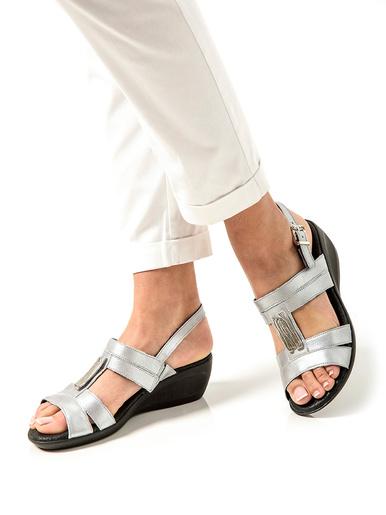 Sandales cuir option chic - Pédiconfort - Gris métal