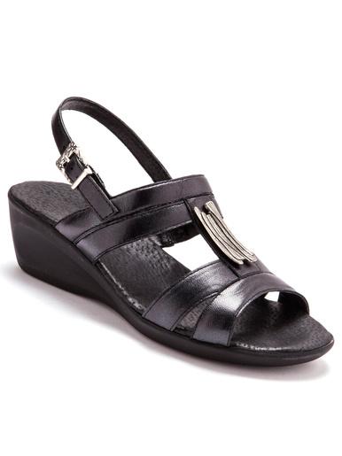 Sandales cuir option chic - Pédiconfort - Noir