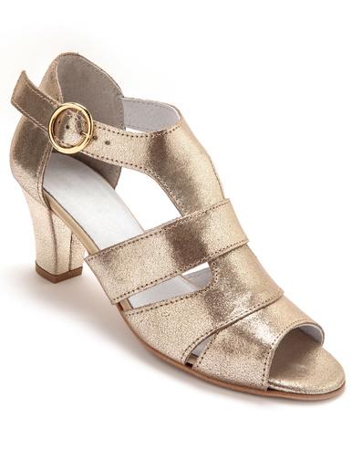Sandales cuir velours grande largeur - Pédiconfort - Doré