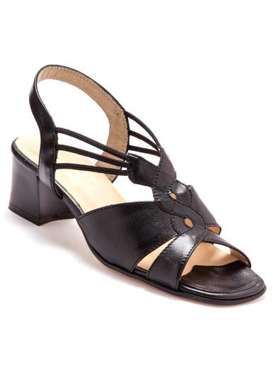 Sandales grande largeur en cuir - Pédiconfort - Noir