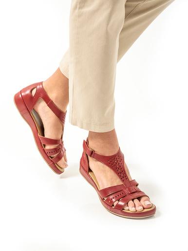 Sandales cuir ajouré - Pédiconfort - Rouge