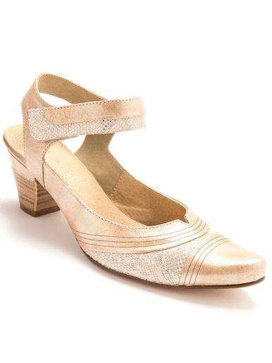 Sandales cuir à patte auto-agrippante - Pédiconfort - Beige