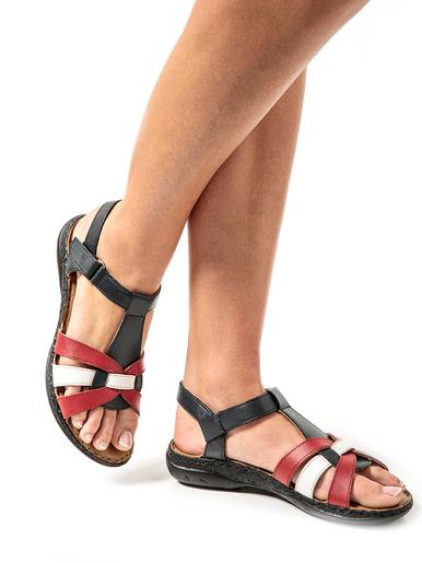 Sandales en cuir ultra légères - Pédiconfort - Marine/rouge/blanc