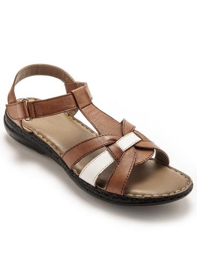 Sandales en cuir ultra légères - Pédiconfort - Marron/blanc