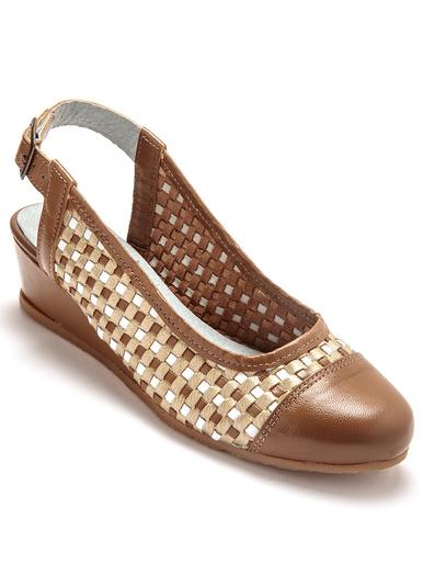 Sandales tressées en cuir à bout fermé - Pédiconfort - Marron/doré