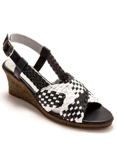 Sandales tressées grande largeur - Pédiconfort - Marine/blanc
