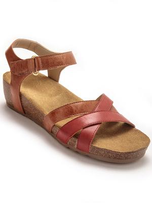 Sandale bicolores talon liège