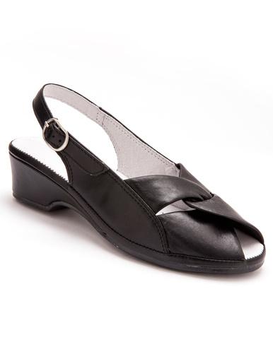Sandales en cuir, grande largeur - Pédiconfort - Noir
