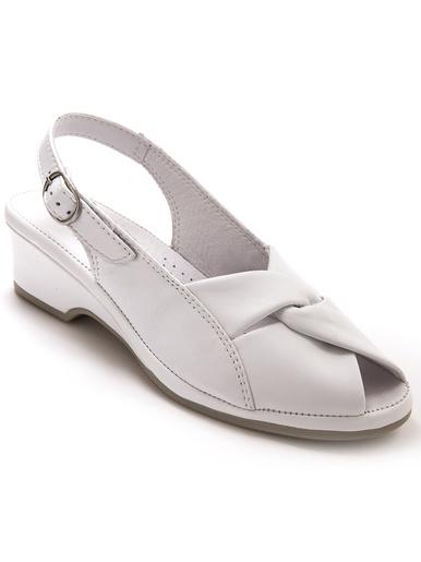 Sandales en cuir, grande largeur - Pédiconfort - Blanc