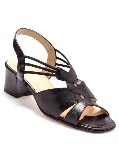Sandales extra larges en cuir - Pédiconfort - Noir