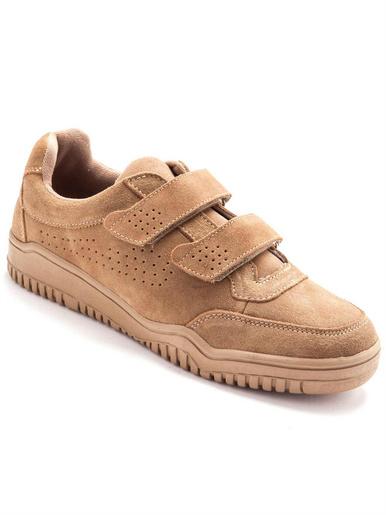 Chaussures cuir à scratch extra-larges - Pédiconfort - Camel
